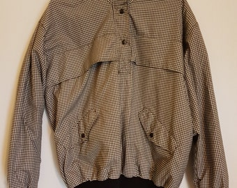 Vintage 1980s cropped black & grey houndstooth waterproof rain jumper