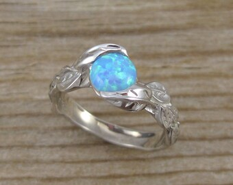 Leaf Engagement Ring, Opal Engagement Ring, White Gold Leaf Ring, Opal Leaf Ring, Leaves Ring, Alternative Engagement Ring, Opal Leaves Ring