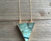 Labradorite Traingle Necklace || 14k Gold Fill