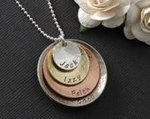 Mixed Metal Personalized Necklace - Rustic - Four Stack - Sterling Silver - Brass - Copper - Silver Nickel Mother's Necklace