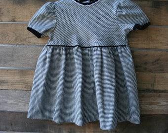 Vintage Black & White Houndstooth Dress Size 3T