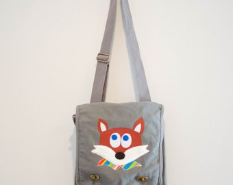 Fox Messenger Bag, Field Bag, Gray Bag, Canvas Bag, Applique Bag Kids Tween Teen College Women, Overnight, Adjustable Strap Ready to Ship