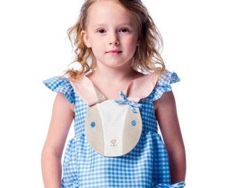 Girl's Dress: Blue Gingham Bunny Love