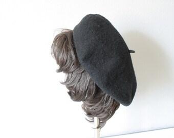 Vintage French Beret, Black Wool Cap, Chapeau, Tam