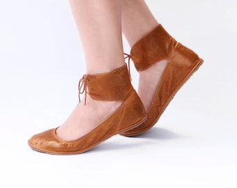 Ballet flats - Ankle lace-up Handmade Leather ballerinas - Barefoot style - Minimalist soles and  CUSTOM FIT