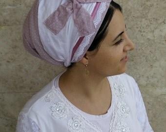 handmade Jewish Tichel,Sinar tichel,Mitpachat,Non Wrap, Just tie in the back,by oshrataDesignz