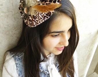 leopard print vintage ribbon tiara ,studded bow,by oshratdesignz