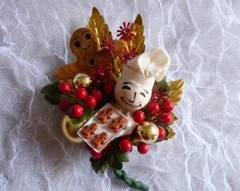 Christmas Corsage Vintage Spun Cotton Gingerbread Man Chef Christmas Cookies Decoration Gift Box