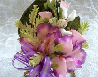 Vintage Easter Corsage Pink Purple Millinery Flowers Spun Cotton Easter Bunny Gift Decoration