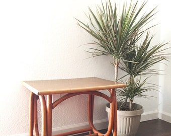 vintage mid century faux bamboo wood end table