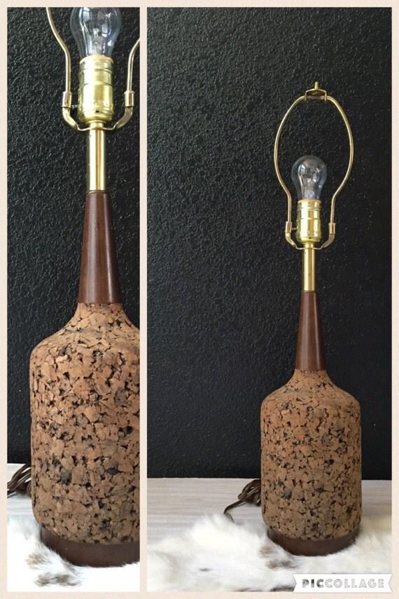 tall slender mid century cork wood table