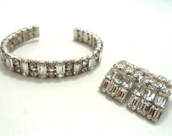 Vintage Signed Eisenberg Clear Crystal Rhinestone Cuff Bracelet Clip On Earrings Set Baguettes Brilliants Bride Jewelry