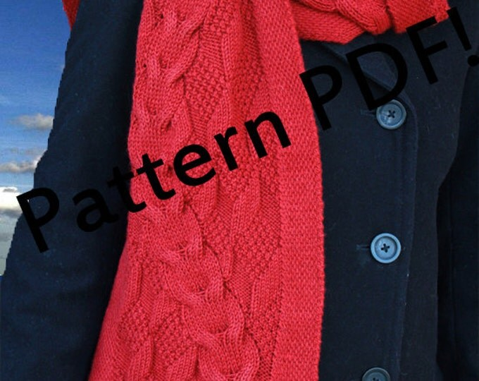 Reveur Scarf: cable hand knit reversible scarf PDF Knitting Pattern by The Sexy Knitter
