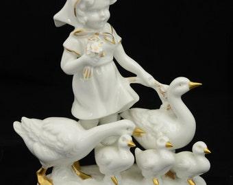 Reinecke Porzellan Manufaktur RPM German Girl Geese Gilded Porcelain Figurine