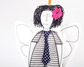 Black & white modern cupid angel ,handmade Tooth Fairy ornament in striped dress and navy blue polkadot tie - handmade fabric dolll wall art