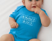 Periodic Table Inspired Baby Bodysuit (Turquoise) - BRAINY BOY Chemistry Creeper by Periodically Inspired