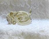Snow white wedding bracelet bead embroidery jewelry white bracelet crystal bridal bracelet beaded wedding jewelry white beaded bracelet