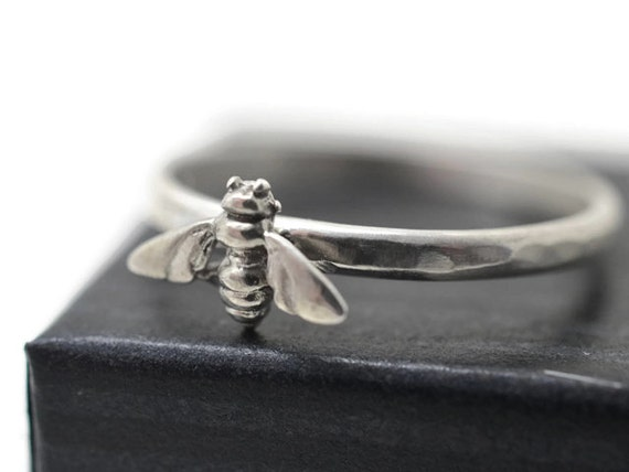 Sterling Honey Bee Ring, Sterling Silver Stacking Ring, Bumblebee Animal Ring, Insect Jewelry, Simple Bee Jewelry