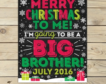 Christmas Big Brother Announcement Chalkboard Printable - Christmas Baby Announcement Sign - Pregnancy Reveal - Were Expecting - Winter