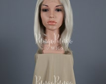 Silver Wig | Short Straight Grey Lace Front Wig | Angled Bob Witcher Ciri Costume Geralt Anime Destiny Cosplay White Blonde| Princess Series