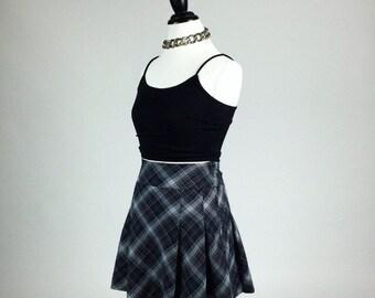 90's Blue Plaid Clueless Pleated Schoolgirl High Waisted Mini Skirt // S - M
