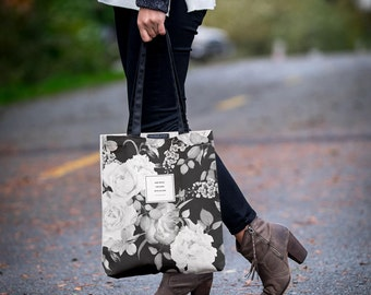 "The ""Blake"" Botanical Tote Bag With Pockets, Floral Tote, Handmade Canvas Bag, Bookbag Literary Gift for Her, Girlfriend Gift, Fashion Print"