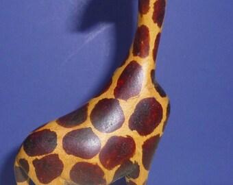 Vintage Hand Carved Wooden Giraffe Figurine, 1970s