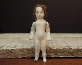 Antique Victorian Bisque Doll / German Doll / Frozen Charlotte Doll / Hand Painted Face / Red Mohair