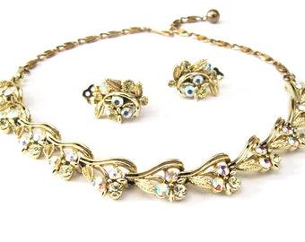 1950s Lisner Demi Parure, Necklace and Earring Set, Aurora Borealis & Jonquil Yellow Rhinestones, Mid Century Jewelry