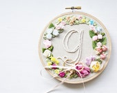 Ribbon Floral Appliques on Embroidery Hoop in Rainbow Colour Garden // Wall Art // Home Decor // Ring Holder // Perfect Baby Gift