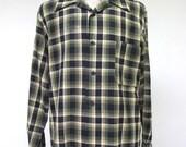 Vintage 1960s Shirt / 60s Mens Green Black Wool Windowpane Plaid Shirt / Extra Large