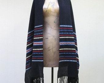 Vintage 1960s Shawl / 60s Black Wool Ethnic Tribal Woven Shawl
