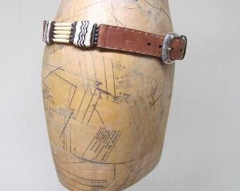 """Vintage 1990s Belt / 90s Justin Brown Leather Concho Belt / 32"""" Waist"""