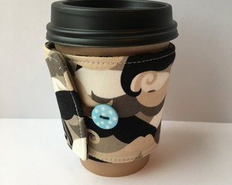 Coffee Cozy- Mustache Camo Print Coffee Sleeve- Reusable Coffee Sleeve