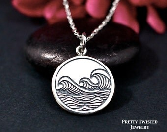 Waves Necklace, Sterling Silver, Ocean Waves Necklace, Waves Jewelry, Waves Charm Necklace, Beach Necklace, Surfing Necklace, Water Necklace