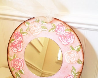 Decorative Wall Mirror, Round Pink Floral Motif Decoupaged Mirror, Shabby Cottage Chic Wall Decor