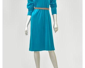 Vintage Blue Velvet Dress Disco Dress 70s Dress Teal Dress w/ Bow Tent Dress Puff Sleeve Shift Dress Blue Dress Velour Dress 1970s Dress (M)