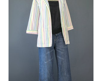 Striped Blazer - 80s Blazer - Rainbow Striped White Blazer - Womens Suit Jacket - Oversize Blazer - Boyfriend Jacket - 1980s Blazer