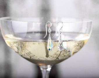 Bridesmaid Earrings - Kelis Earring - Iridescent Crystal Teardrop Earrings - Silver Bridesmaid Earrings - Bridal Earrings - Wedding Earrings