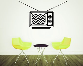 Retro television decal with chevron screen, vintage TV decal