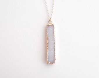 White Druzy Bar Necklace in Gold - Vertical Bar Necklace - OOAK Jewelry