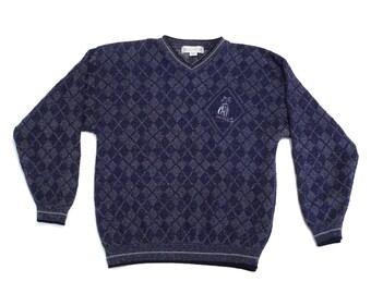 Grand Slam Sweater Penguin Tag Vintage Navy Blue Argyle Pullover with Golf Clubs Logo 80s 1990s Medium Preppy Golfing Diamond Pattern V Neck