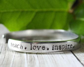 Teacher Appreciation Gift / End of Year Teacher Gifts / Teacher Retirement Gift / Class of 2016 / Teach Love Inspire / Hand Stamped Bracelet