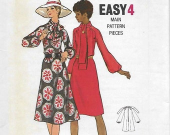 Butterick 6072 Women's 70s Loose-Fitting Tie Dress Sewing Pattern Size 12 Bust 34