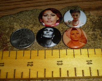 SOFIA LOREN 4 one inch pin back buttons badge set