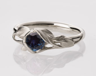 Leaves Engagement Ring - 14K White Gold and Blue Sapphire engagement ring, engagement ring, leaf ring, antique, art nouveau, vintage, 6
