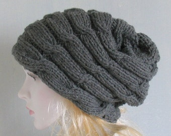 Hand knitted ladies slouchy beanie hat available Women Knit Hat Hand Knit Hat Chemo Hats Slouchy Beanie Slouchy Hat Braid Chemo Knit Hat