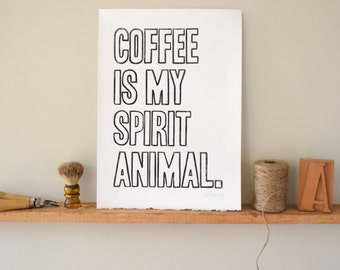 Coffee Sign, Coffee Wall Art, Linocut Print Wall Art Poster, Coffee Lover, Coffee Home Decor, Coffee Wall Decor, Housewarming, Hostess gift