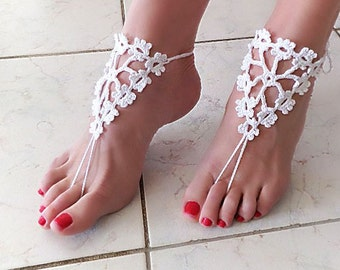 White barefoot sandals, Blooming tree nude shoes, barefoot sandles, foot jewelry, wedding, victorian lace, yoga, bellydance. Women's gift
