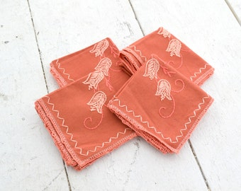 1950s Embroidered Napkins, Set of 4